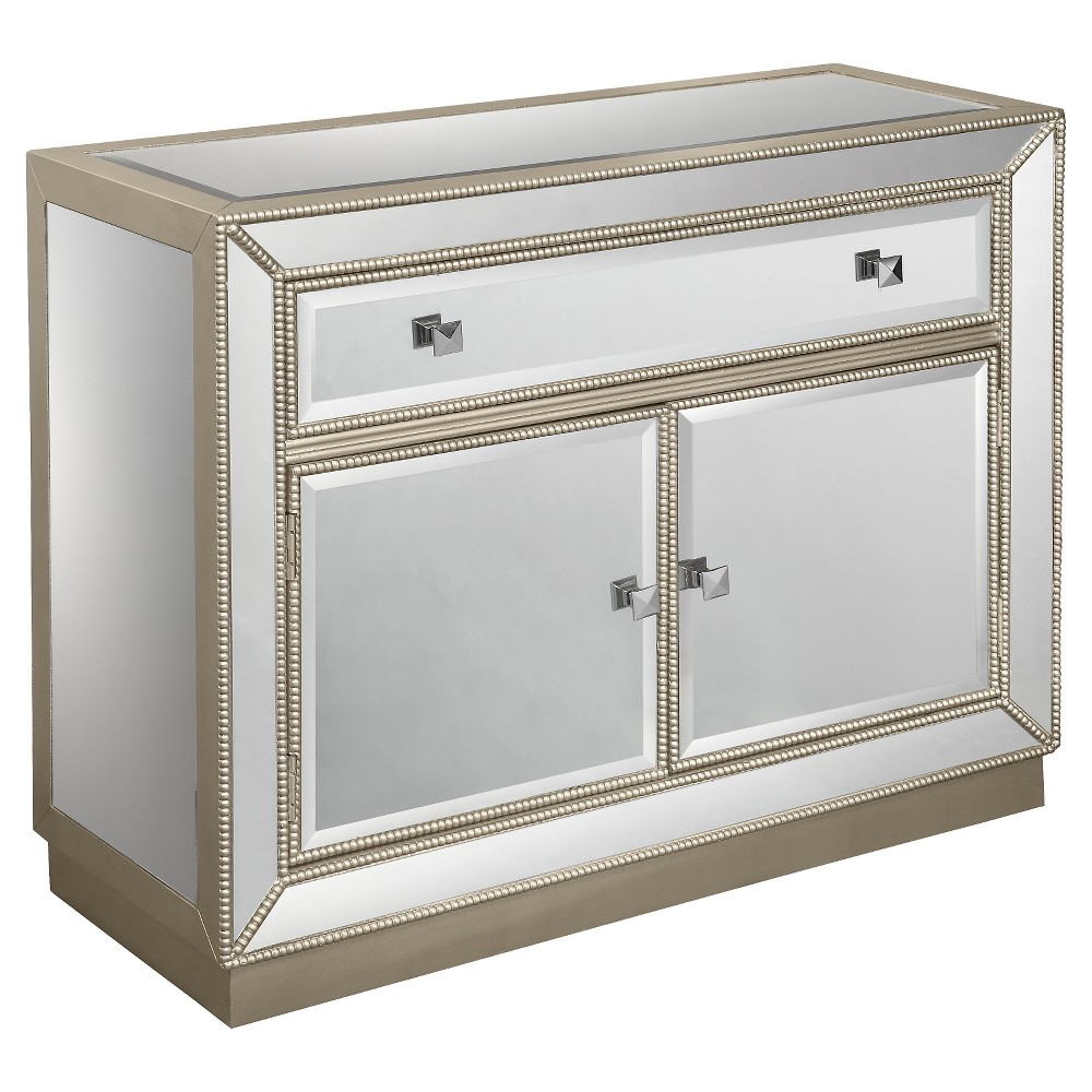 Storage Cabinet Two Door With Drawer Mirrored - Christopher Knight Home, Shiny Silver