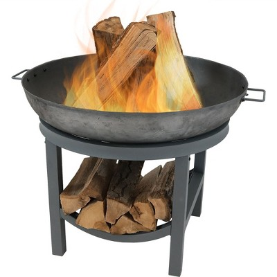 """Cast Iron 30"""" Wood Burning Fire Pit with Built In Log Rack - Round - Sunnydaze Decor"""