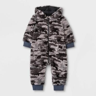 Grayson Mini Baby Sherpa Hoodie Romper - Dark Gray 24M