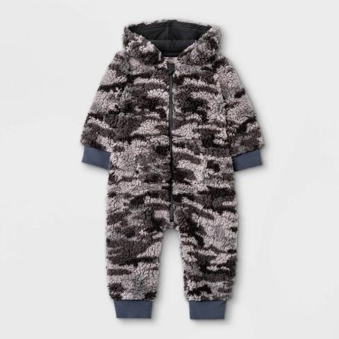 Grayson Mini Baby Sherpa Hoodie Romper - Dark Gray - image 1 of 4
