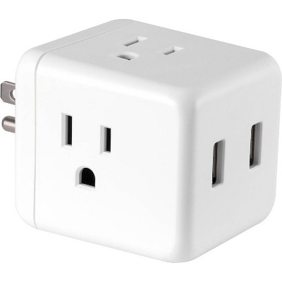 Power Gear 3-Outlet Grounded Cube Tap with 2 USB Ports 2.4A Surge 245J White