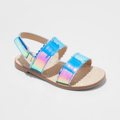 Toddler Girls' Calypso Two Piece Footbed Sandals - Cat & Jack™ Silver 6