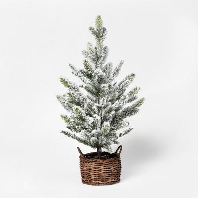 2ft Faux Flocked Pine Tree in Basket Medium - Threshold™