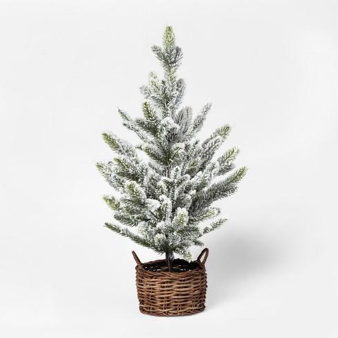 2ft Faux Flocked Pine Tree in Basket Medium - Threshold™ - image 1 of 1