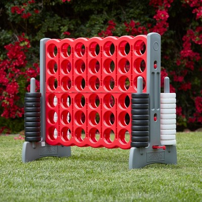 ECR4Kids Jumbo Four-To-Score Giant Game-Indoor/Outdoor 4-In-A-Row Connect - Red and Grey