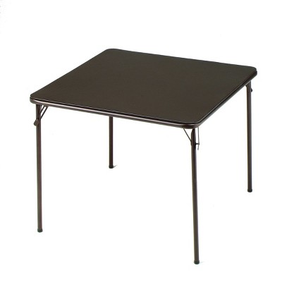 MECO 084U02.5B1 Sudden Comfort Indoor/Outdoor 34 x 34 Inch Square Steel Metal Folding Dining Card Table, Cinnabar Black