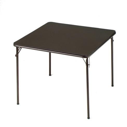 MECO 084U02.5B1 Sudden Comfort Indoor/Outdoor 34 x 34 Inch Square Steel Metal Folding Dining Card Table, Cinnabar Black - image 1 of 1