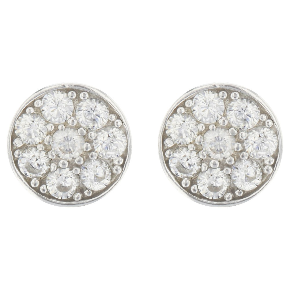 Button Earrings Sterling Cubic Zirconia Disc Silver Clear