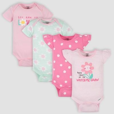 Gerber Baby Girls' 4pk Floral Short Sleeve Onesies - Pink 0-3M