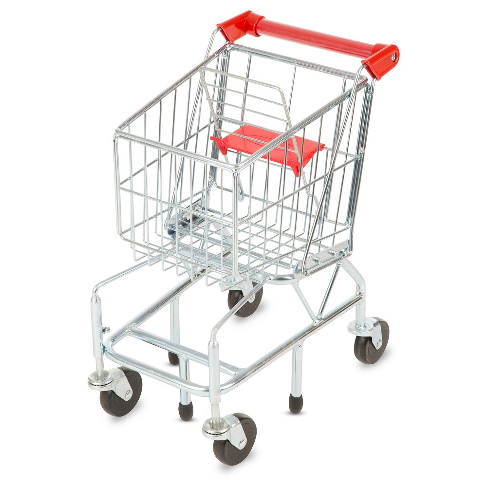 Melissa & Doug Toy Shopping Cart With Sturdy Metal Frame Kids love to help do the grocery shopping and The Melissa and Doug shopping cart encourages them to use their imagination. It has pivoting wheels, just like the adult version. Your child can even place her doll in the seat that's provided. The cart has metal construction and is fun to fill and built to last. Ages 3 and up. Gender: Unisex.