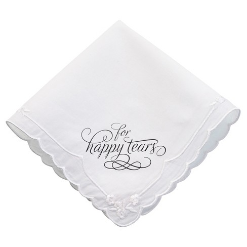 White 'For Happy Tears' Wedding Favor Hankie - image 1 of 1
