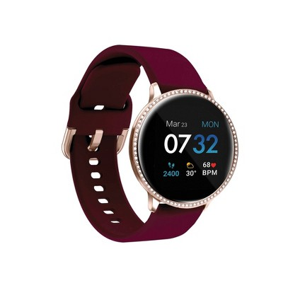 iTouch Sport Special Edition Fitness Smartwatch - Rose Gold Crystal Case with Merlot Strap