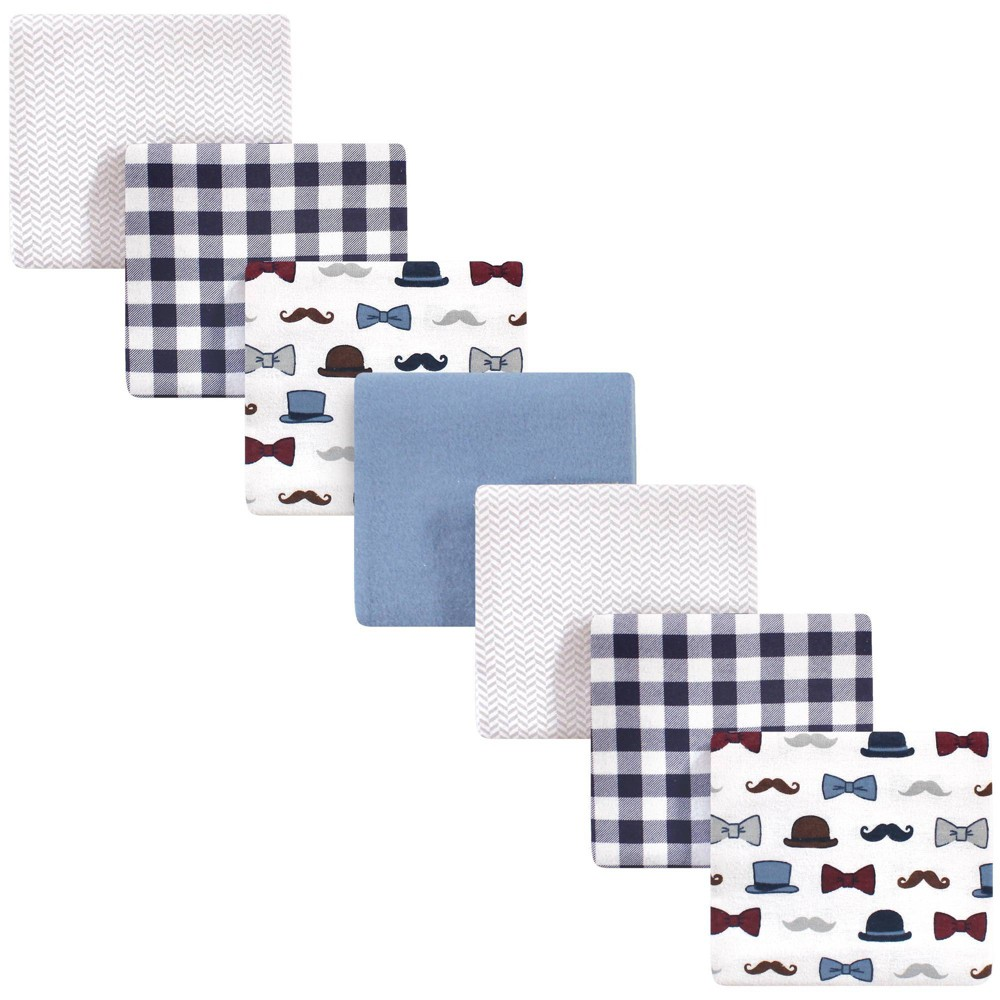 Baby Vision Little Treasure Unisex Baby Cotton Flannel Receiving Blanket Handsome Fella One Size 7pk