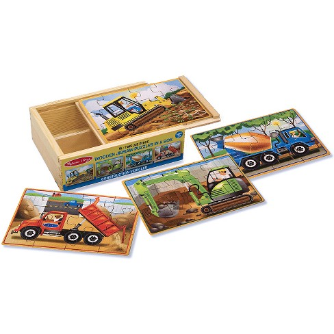 Melissa & Doug® Construction Vehicles 4-in-1 Wooden Jigsaw Puzzles (48pc) - image 1 of 3