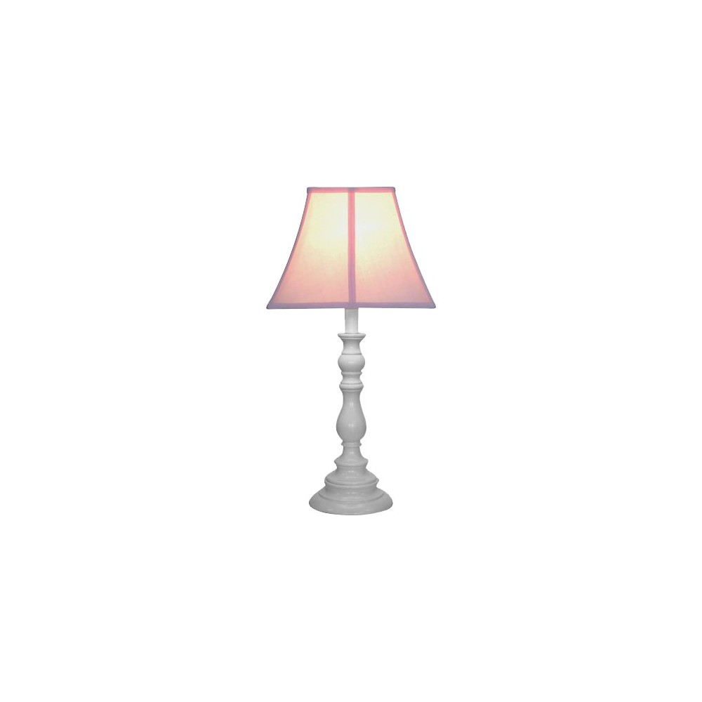 Image of White Resin Table Lamp - Pink
