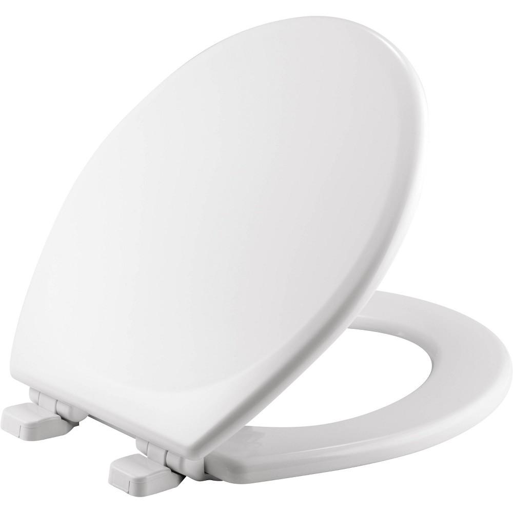 Image of Round Enameled Wood Toilet Seat White - Mayfair