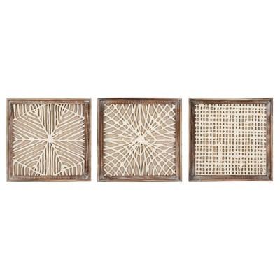 "19.6"" x 19.6"" (Set of 3) Styles Handmade Paper in Wood Frame Decorative Wall Art - 3R Studios"
