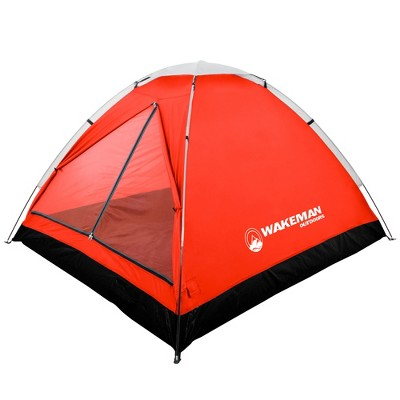 Wakeman 2-Person Tent Water Resistant Dome Tent For Camping With Removable Rain Fly and Carry Bag - Red