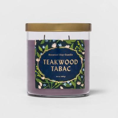 15.1oz Lidded Glass Jar 2-Wick Teakwood Tabac Candle - Opalhouse™