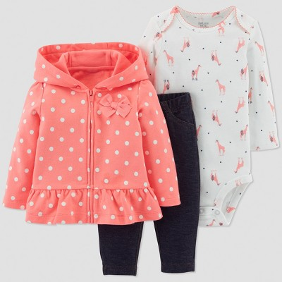 Baby Girls' 3pc Dot Cotton Bodysuit/Cardigan Set - Just One You® made by carter's Coral 3M