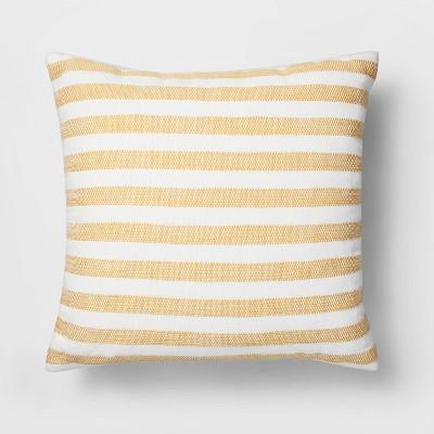 Square Woven Stripe Pillow White/Yellow - Threshold™