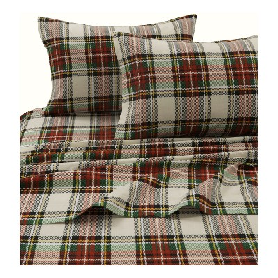 Tribeca Living Printed Cotton Flannel Extra Deep Pocket Sheet Set Queen - Red/Green