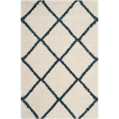 4'x6' Hudson Shag Area Rug Ivory/Slate Blue - Safavieh