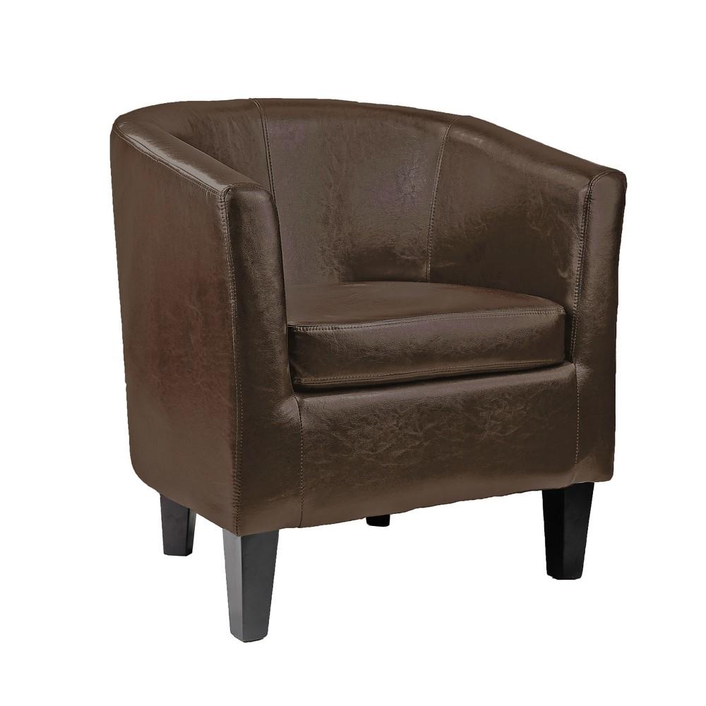 Corliving Antonio Tub Chair In Dark Brown Bonded Leather