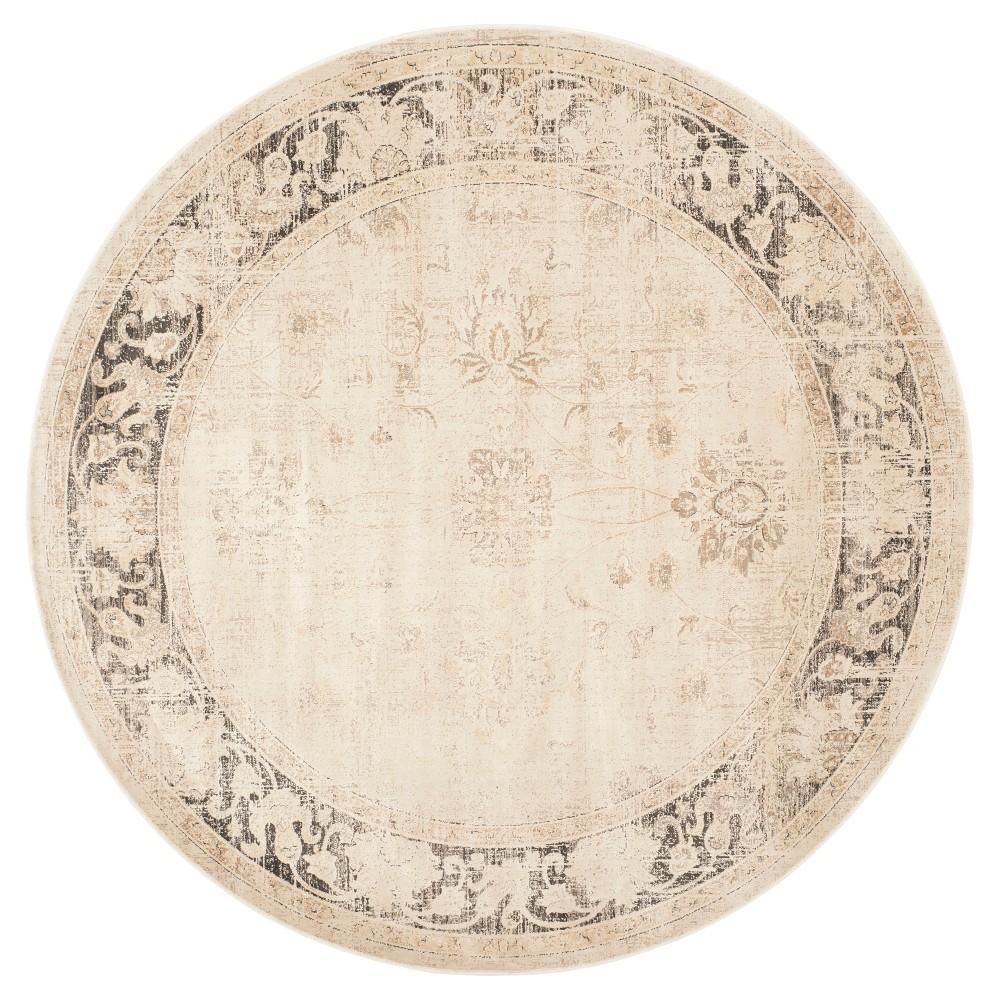 Matilde Vintage Inspired Rug - Stone (Grey) (6' Round) - Safavieh
