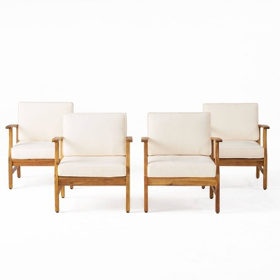 Perla 4pk Acacia Wood Club Chairs - Teak/Cream - Christopher Knight Home
