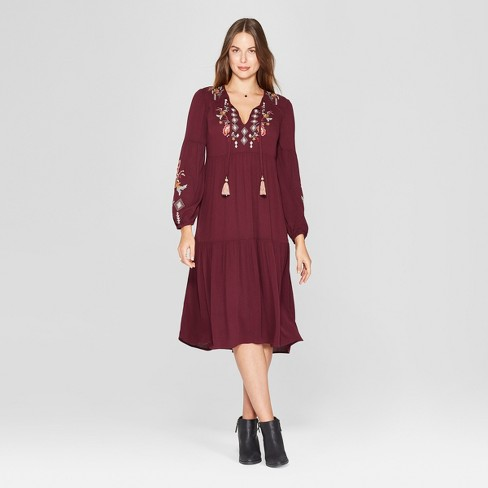 a3e9d3b3b77 Women S Long Sleeve Embroidered Peasant Dress Knox Rose Burgundy