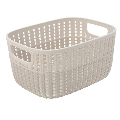 Simplify Small 2 Tone Decorative Storage Basket Ivory