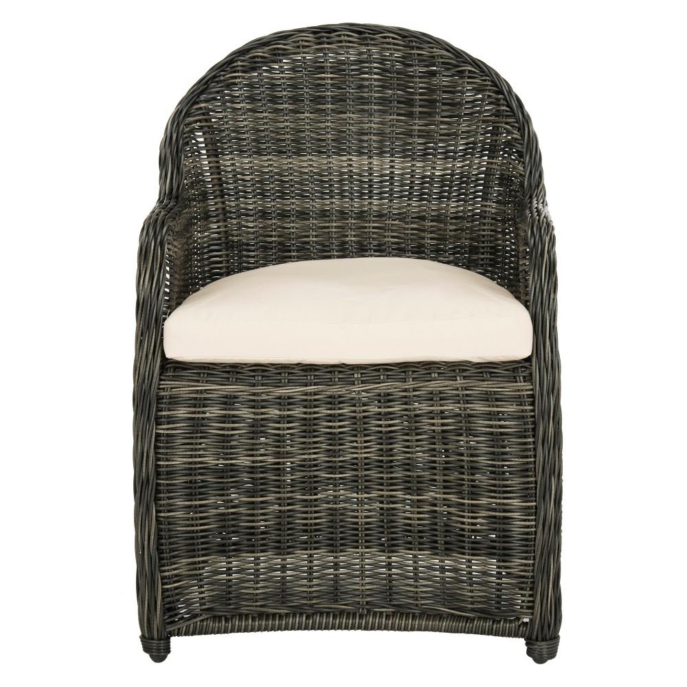 Newton Wicker Arm Chair With Cushion Gray/Beige - Safavieh