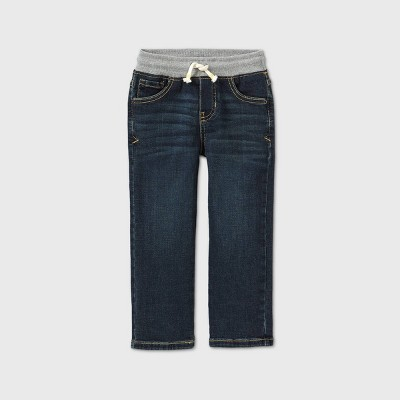 Toddler Boys' Pull-On Straight Fit Jeans - Cat & Jack™ Dark Vintage Blue 3T