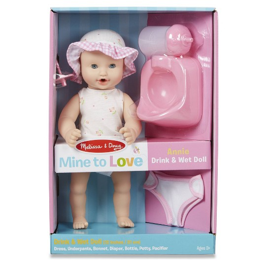 """Melissa & Doug Mine to Love Annie 12"""" Drink and Wet Baby Doll"" image number null"