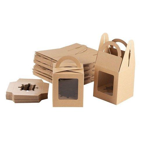 """100-Pack Kraft Paper Cupcake Boxes Individual, Pastry Box Take Out Containers with Insert & Window, 3.7""""x4.2""""x3.7"""", Brown - image 1 of 4"""