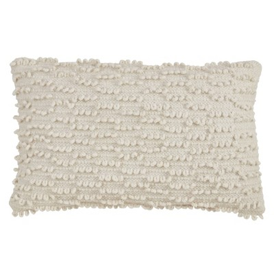 Nubby Down Filled Throw Pillow Ivory - Saro Lifestyle