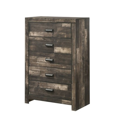 5 Drawer Plank Design Chest with Horizontal Pulls and Panel Support Brown - Benzara