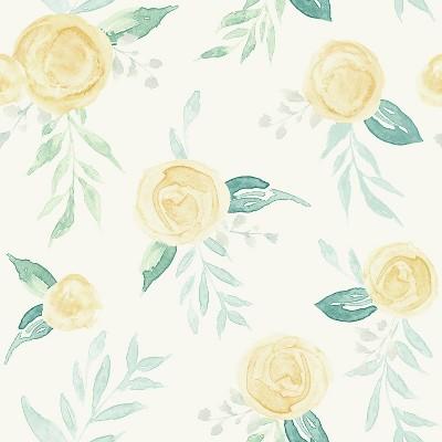 RoomMates Watercolor Roses Magnolia Home Wallpaper Yellow
