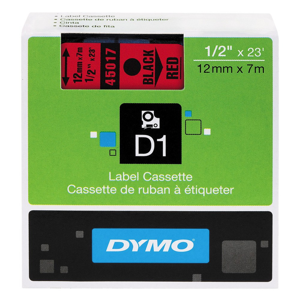Image of DYMO D1 Standard Tape Cartridge for Dymo Label Makers - 1/2in x 23ft - Black on Red