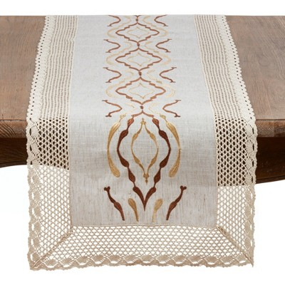 Saro Lifestyle Natural Poly Blend Runner With Lace Border Design