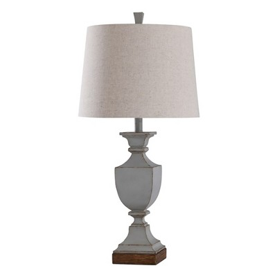 StyleCraft L315786 Oldbury Blue Classic Traditional 3 Way Lamp with Cream Textured Drum Lampshade for Table or Desk Bedroom Room Light Decor, 30 Inch