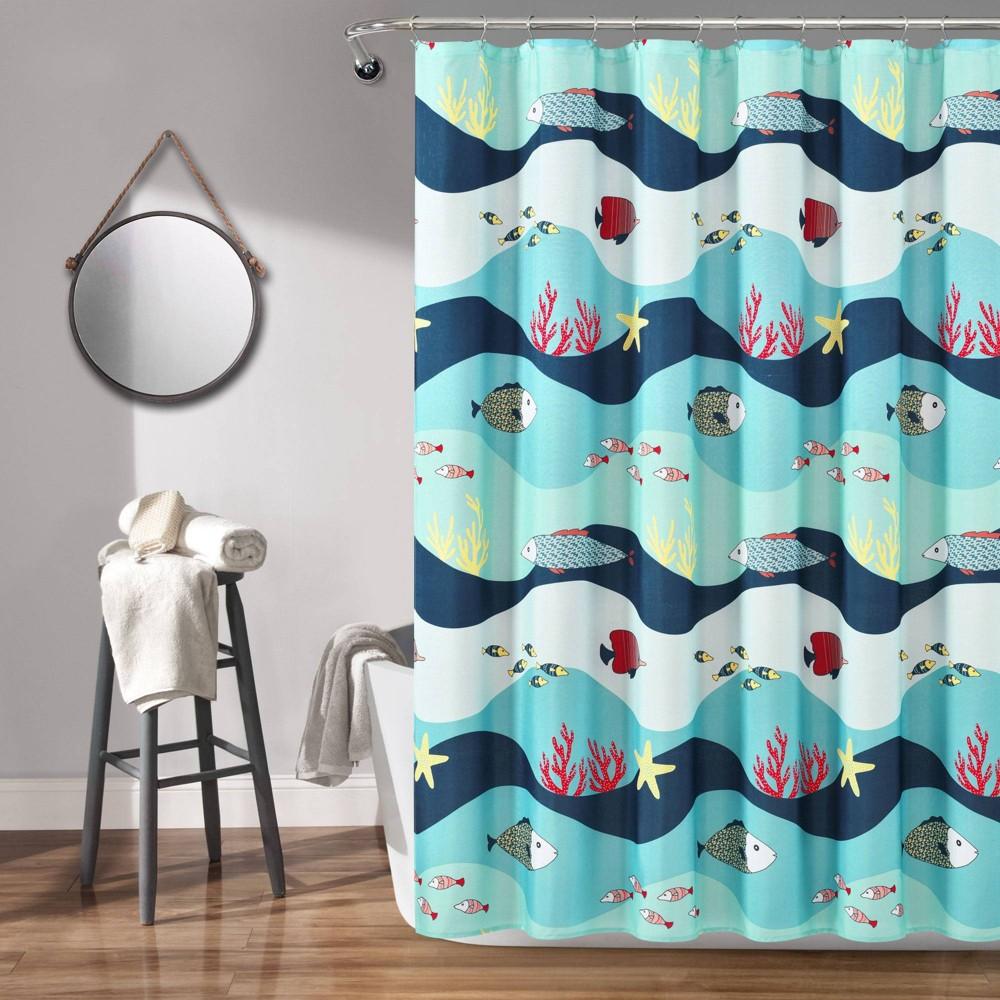 "Image of ""72""""x72"""" Sea Life Shower Curtain Blue - Lush Décor"""