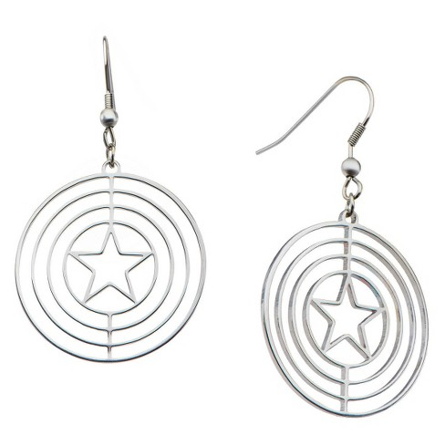 Women's Marvel™ Captain America Shield Logo Stainless Steel Dangle Earrings - image 1 of 1