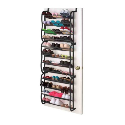 Home Basics 36 Pair Over the Door Steel Shoe Rack, Black