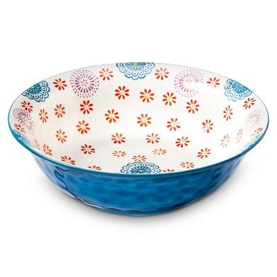 Kennex 64oz Ceramic Serving Bowl - Floral Blue