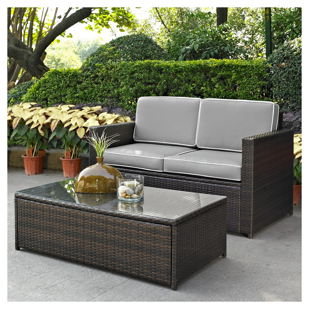 Palm Harbor 2pc Outdoor Wicker Seating Set with Gray Cushions- Loveseat & Glass Top Table - Crosley, Brown