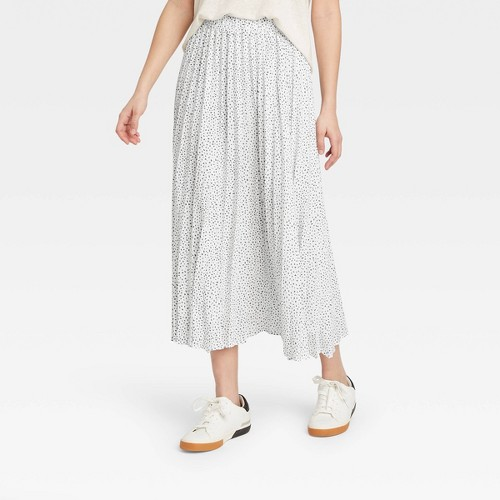 Women S Midi Pleated A Line Skirt A New Day White XXL