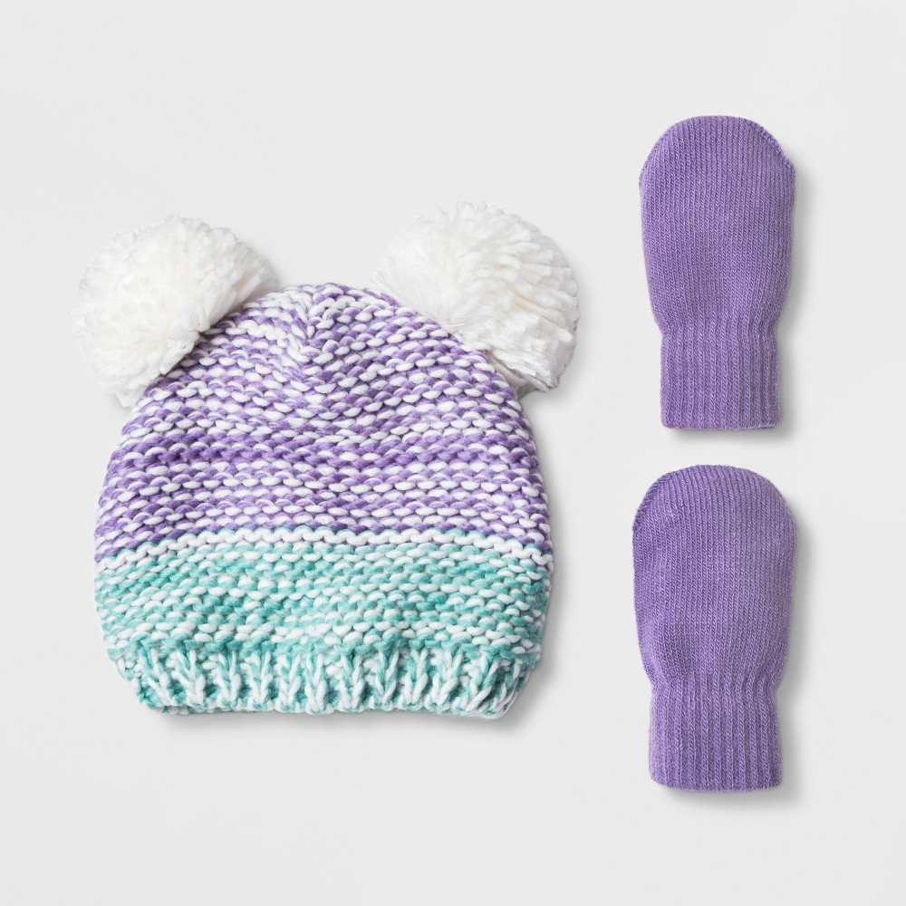 Toddler Girls' Ombre Pom Beanie Hat and Mitten Set - Cat & Jack Purple 12-24M