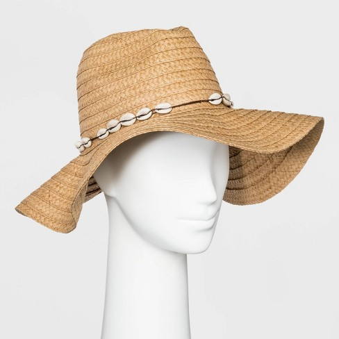 Women's Oversized Straw Shell Fedora - Wild Fable™ Tan One Size - image 1 of 2
